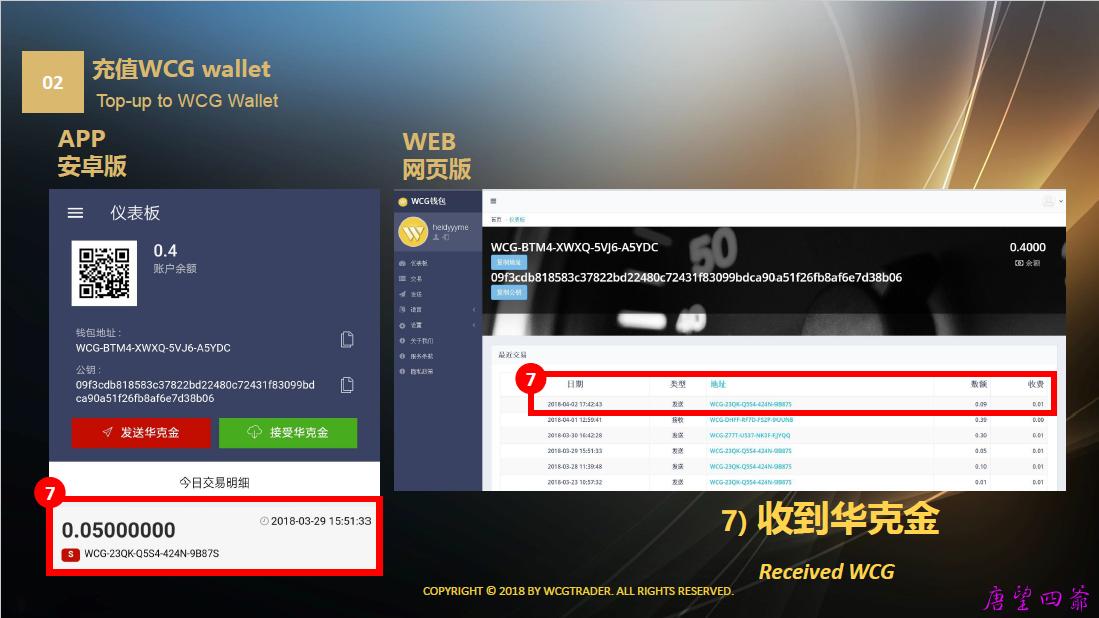 WCG Wallet华克金快捷钱包充值、发送教程